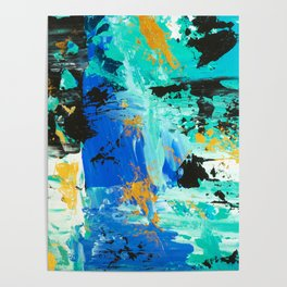 Abstract blue turquoise gold brushstrokes original acrylic painting Poster