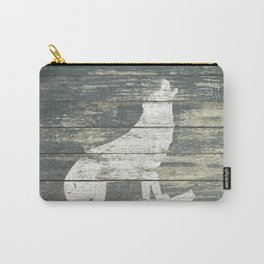 Rustic White Wolf Silhouette A383 Carry-All Pouch