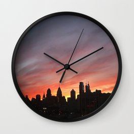 philadelphia skyline at sunset Wall Clock