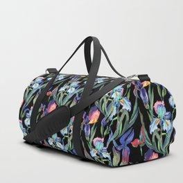 Modern elegant colorful watercolor irises floral pattern Duffle Bag