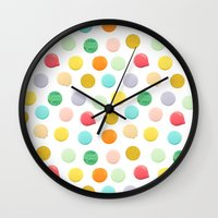 confetti Wall Clocks featuring Confetti by Catalina Montaña