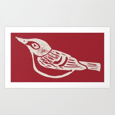 Black Capped Vireo - Hand Carved Stamp Art Print