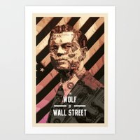 wolf of wall street Art Prints featuring The Wolf Of Wall Street by Messypandas