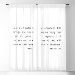 Albert Einstein quote A calm and modest life Blackout Curtain