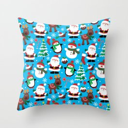 Santa Claus, Snowmen, Reindeer and Christmas Trees Pattern Throw Pillow