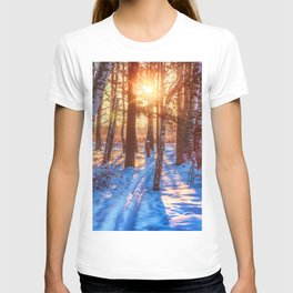 Ski track in the winter forest T-shirt