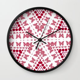 Red white butterfly pattern Wall Clock