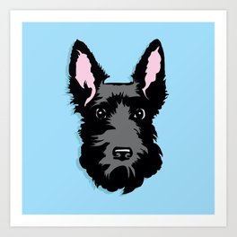 Black Scottie Dog on Blue Background Art Print