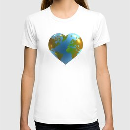 Globe in the shape of heart T-shirt