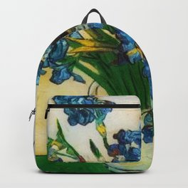 Vase with Irises by Vincent van Gogh Backpack