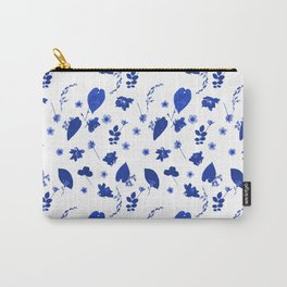Blue Floral Pressed Flower and Leaf Pattern Carry-All Pouch