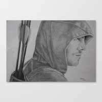 green arrow Canvas Prints featuring Arrow by Brooke Shane