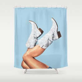 These Boots - Glitter Blue Shower Curtain