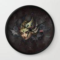 lydia martin Wall Clocks featuring Lydia by SugarFlesh