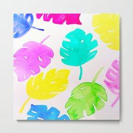 Colorful Monstera Watercolor Leaves Metal Print