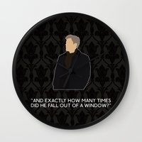 scandal Wall Clocks featuring A Scandal in Belgravia - Greg Lestrade by MacGuffin Designs