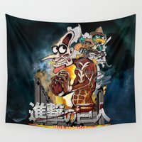 attack on titan Wall Tapestries featuring Attack On Doofen by Mannart