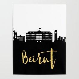 BEIRUT LEBANON DESIGNER SILHOUETTE SKYLINE ART Poster