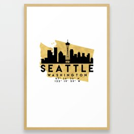 SEATTLE WASHINGTON SILHOUETTE SKYLINE MAP ART Framed Art Print
