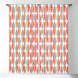 Retro 1970s Vintage Inspired Teardrop Pattern in Turquoise Orange Pink and Golden Yellow Blackout Curtain