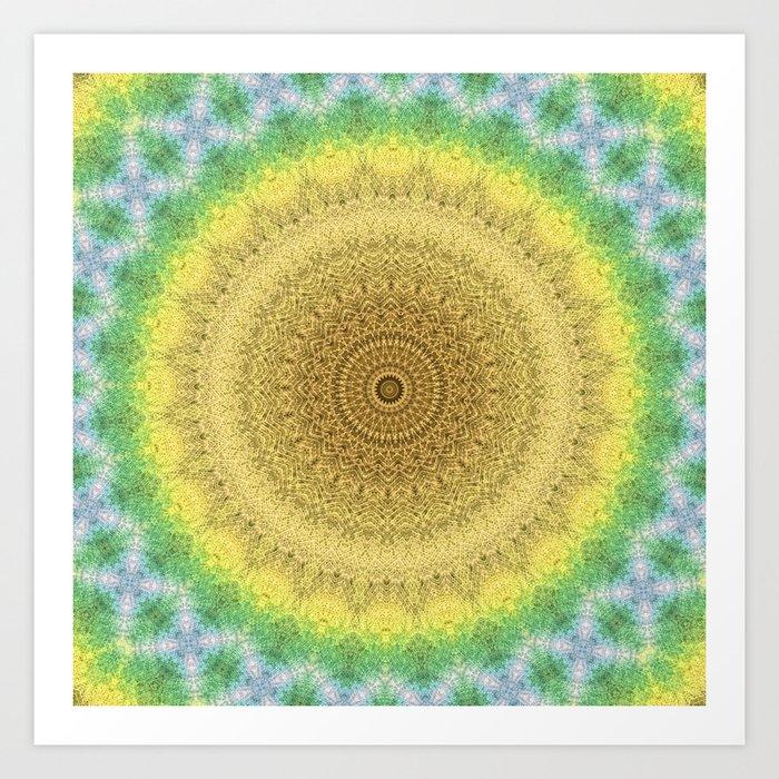 Tie Dye Sunflower Cloth Woven Sun Ray Pattern Yellow Green Blue