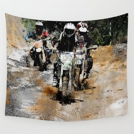 Oncoming! - Motocross Racers Wall Tapestry
