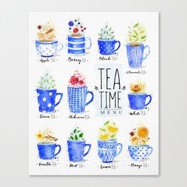 Poster tea menu Canvas Print