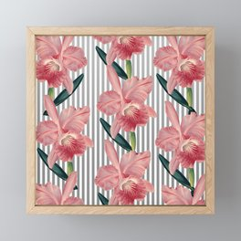 Pink Orchids And Grey Pinstripes Framed Mini Art Print