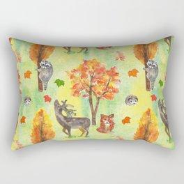 Woodland Watercolor animals Rectangular Pillow