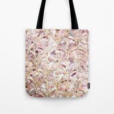 Dusty Rose and Coral Art Deco Marbling Pattern Tote Bag