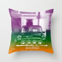 mini cooper Throw Pillows featuring Mini by Matt Wade