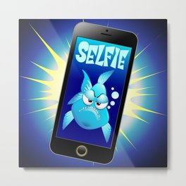 Selfie Grumpy Fish Cartoon on Smartphone Metal Print