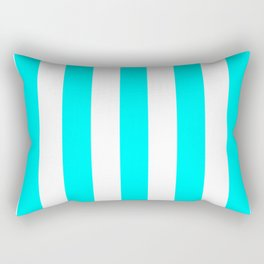 Electric cyan heavenly - solid color - white vertical lines pattern Rectangular Pillow