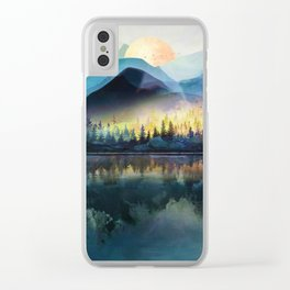Mountain Lake Under Sunrise Clear iPhone Case