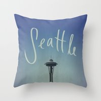 seattle Throw Pillows featuring Seattle by Leah Flores