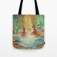 alice wonderland Tote Bags featuring Wonderland by Lily Nava Gallery Fine Art and Design