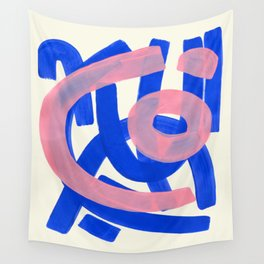 Tribal Pink Blue Fun Colorful Mid Century Modern Abstract Painting Shapes Pattern Wall Tapestry