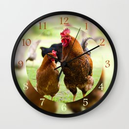 young Rhode Island Red chickens Wall Clock