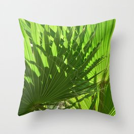 Shades of Palm Leaves Throw Pillow