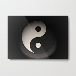 Yin Yang Symbol In Leather Texture Metal Print