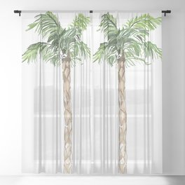 Palm tree frogs evergreen Sheer Curtain