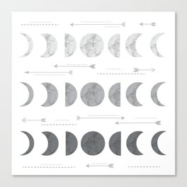 Marble Moon Phases and Arrows Canvas Print