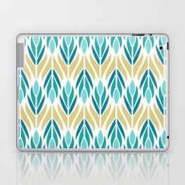 Mid Century Modern Abstract Floral Pattern in Turquoise Teal Aqua and Marigold Laptop & iPad Skin