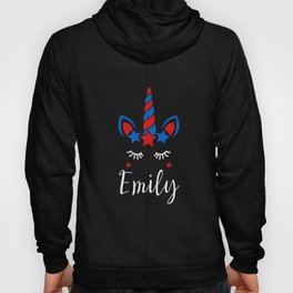 Unicorn 4th of July Birthday Party Girl Name Emily print Hoody