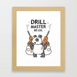Funny Sticker: Super Panda - Drill Master Framed Art Print