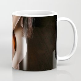 0199-JC Nude Cellist with Her Cello and Bow Naked Young Woman Musician Art Sexy Erotic Sweet Sensual Coffee Mug