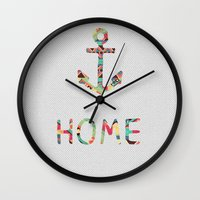girls Wall Clocks featuring you make me home by Bianca Green
