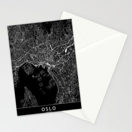 Oslo Black Map Stationery Cards