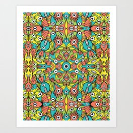 Odd funny creatures multiplying in a symmetrical pattern design Art Print
