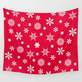 Snow Flurries-Christmassy Red Wall Tapestry